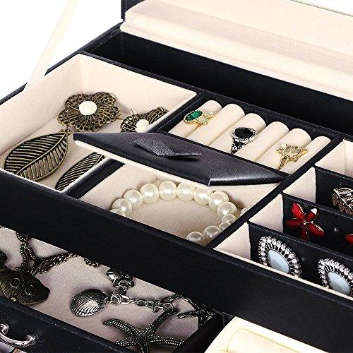 BEWISHOME Jewelry Box Organizer Case Display Storage W/Travel Case Large Mirrored 10 1/4'' x 7 1/16'' x 6 11/16'' Black PU Leather for Girls Women SSH53B by BEWISHOME (Image #2)