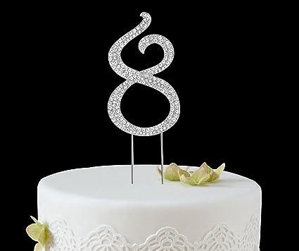 BABEYOND Rhinestone Crystal Number Cake Topper Picks 1 2 3 4 5