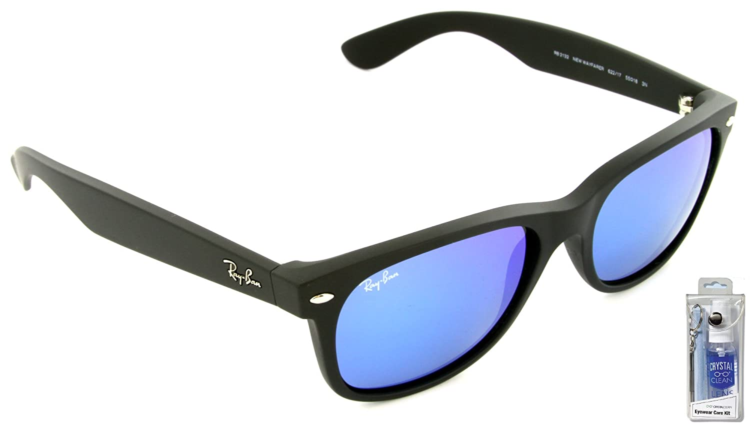 de2ebde71d Amazon.com  Ray Ban RB2132 622 17 55mm Blue Mirror New Wayfarer Sunglasses  Bundle - 2 Items  Clothing