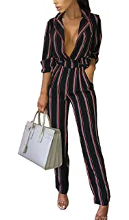 fea69273fa9 PRETTYGARDEN Women s Sexy V Neck Striped Long Sleeve Wide Leg Jumpsuit  Romper with Pockets and Belt