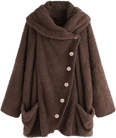 Sunmoot Womens Warm Long Hoodie Teddy Jacket Ladies Artificial Wool Parka Coat Zipper Outerwear