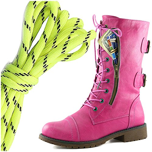 DailyShoes Womens Military Lace Up Buckle Combat Boots Mid Knee High Exclusive Credit Card Pocket, Neon Yellow Black Pink Hearts