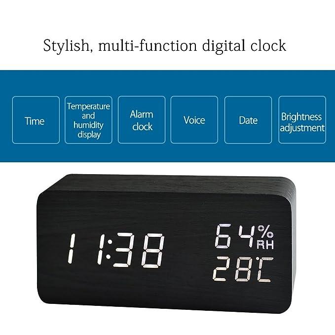 MiniSuit Reloj Digital Despertador de Madera con Control de Sonido y LED Brillo de la Pantalla(Puede Mostrar el año, Mes, día, Hora, Minuto, ...