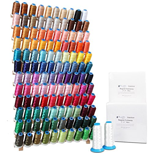 Machine Embroidery Starter Kit - Includes 120 Spools Polyester Thread, Rack, Stabilizer, and Bobbin Thread - 4 Other Kits Available ()