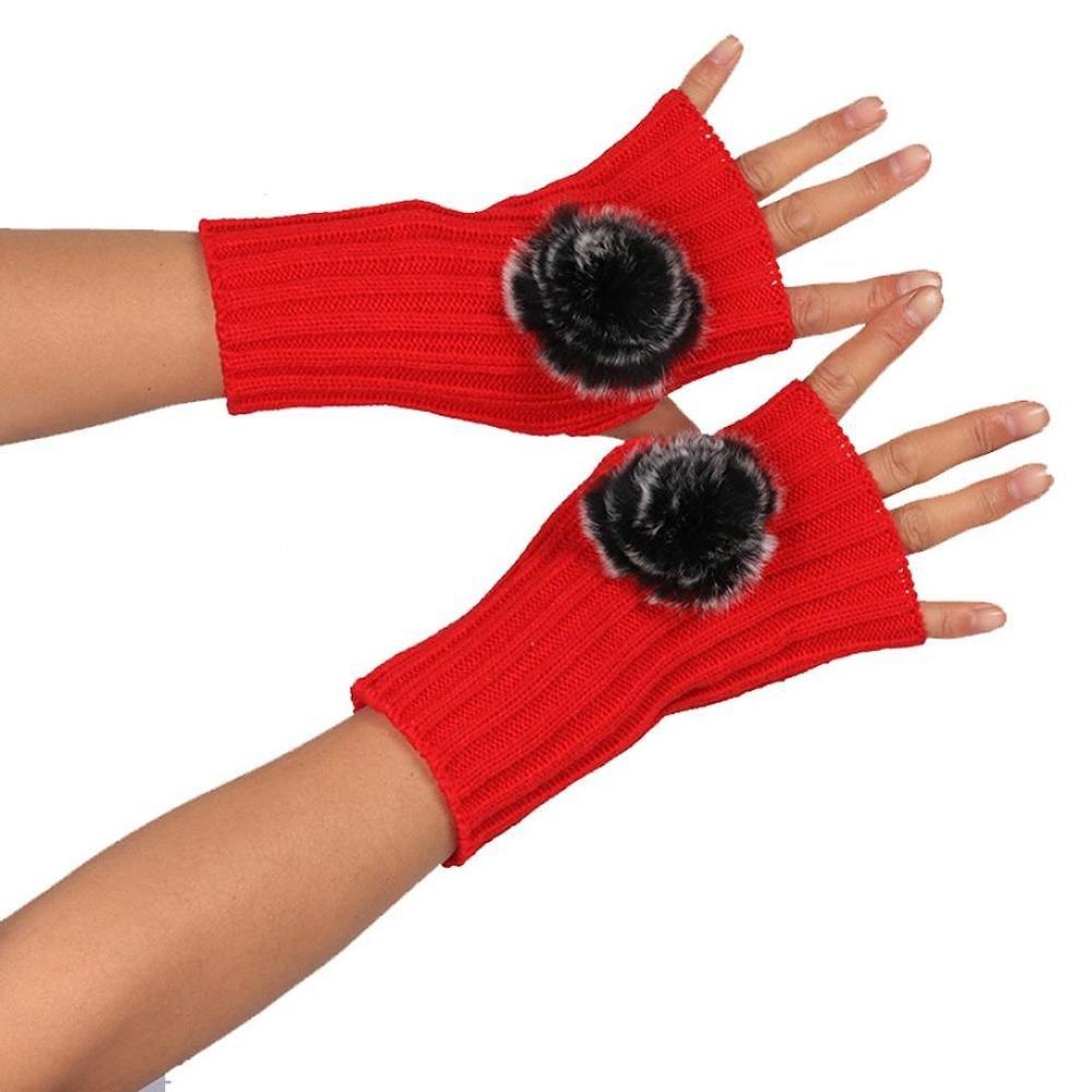 Women Warm Mitten, Doinshop Fashion Pom Knitted Arm Fingerless Winter Gloves (White)