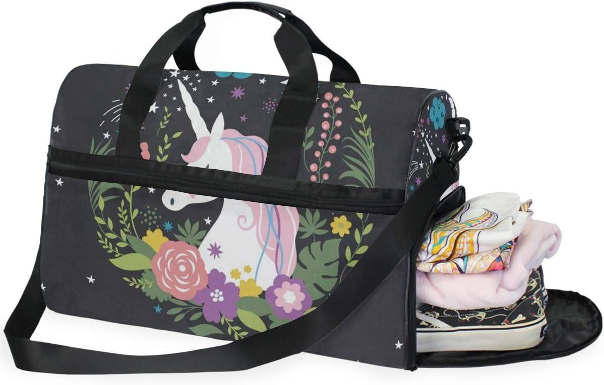 Duffle Bag Floral Unicorns Gym Bag with Shoe Compartment Sport Bag for Men Women
