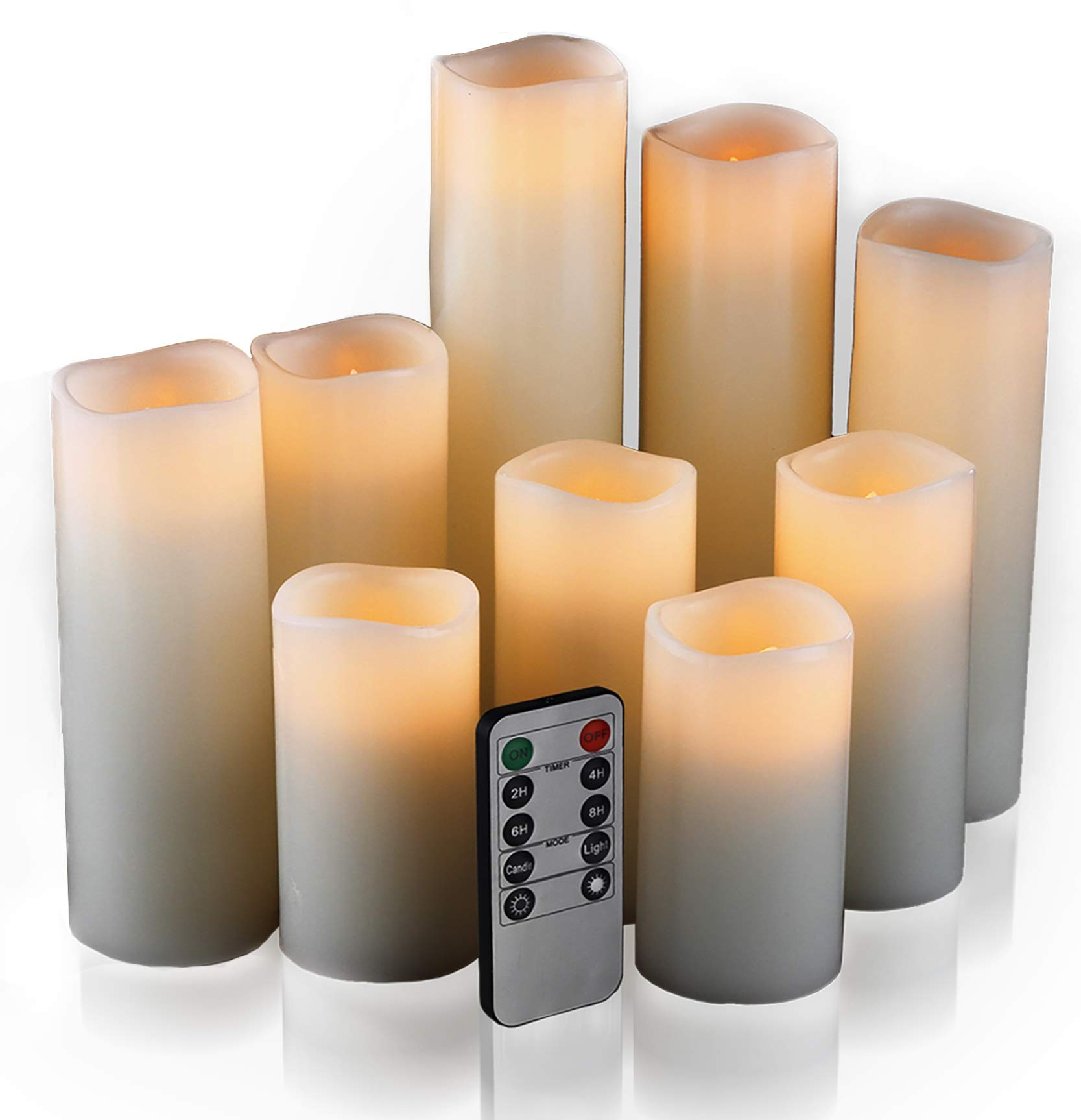 Flameless Candles, Led Candles Set of 9(H 4'' 5'' 6'' 7'' 8'' 9'' xD 2.2'') Ivory Real Wax Battery Candles With Remote Timer by (Batteries not included)