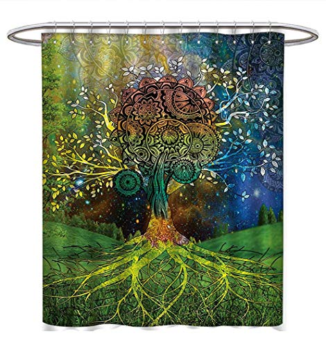 Anhuthree Ethnic Shower Curtains Fabric Extra Long Tree in The Valley with Spiral Branch Balance in Mother Earth Zen Art Illustration Bathroom Decor Set with Hooks W69 x L75 Green ()