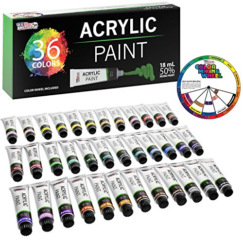 U.S. Art Supply Professional 36 Color Set of Acrylic Paint in Large 18ml Tubes – Rich Vivid Colors for Artists, Students, Beginners – Canvas Portrait Paintings – Bonus Color Mixing Wheel