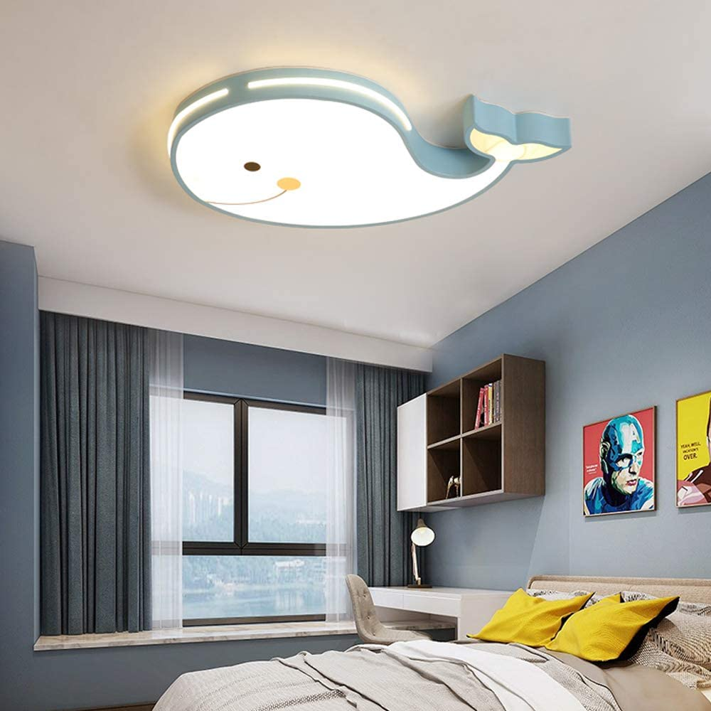 LED Deckenleuchte Dimmbar Deckenlampe Cartoon Fisch Design Kinderzimmerlampe Schlafzimmer Kinderzimmer Dekolampe 60CM Kinderlampe Modern Eisen Rahmen Acryl Schirm inkl Fernbedienung 24W,Blau