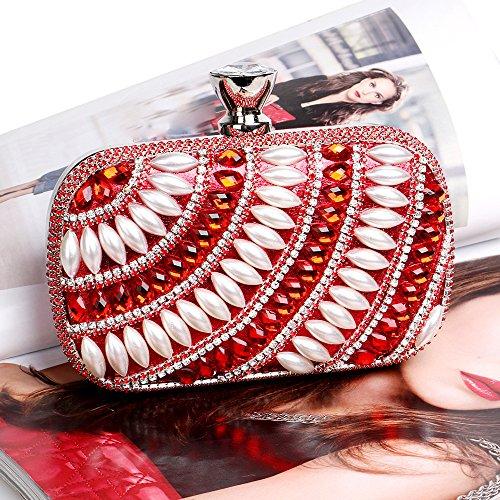 À Main Pochette Soirée Perle Sac Sac Cadeau Glitter De Épaule Dames À Sac Main Mariage Red Pour Prom Clubs Femmes Diamante Nuptiale Party EIw0qI