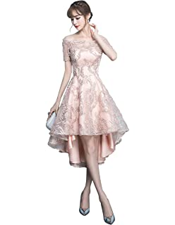 QueenSeven Women Casual Off Shoulder Short Sleeve Lace Short Evening Gown Dress