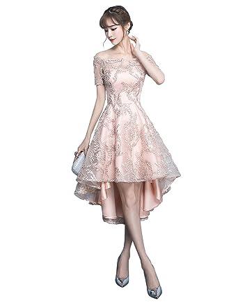 4508b168947 QueenSeven Women Off Shoulder Lace Appliques Party Formal Evening Gown Dress  for Wedding Guest(L