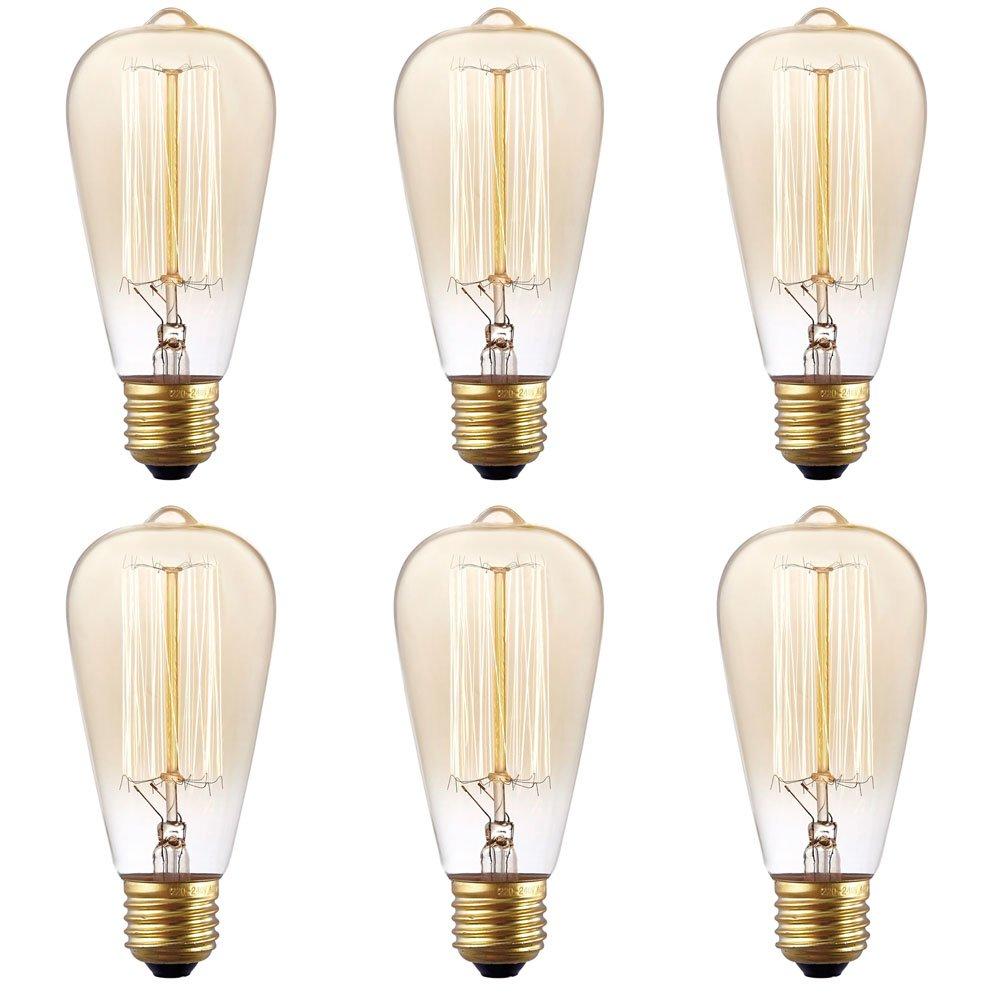 Amazon Com 6 Pack Stg Vintage Antique 60 Watt Edison Light Bulb E26 Base Dimmable Filament Incandescent Bulbs Home Kitchen