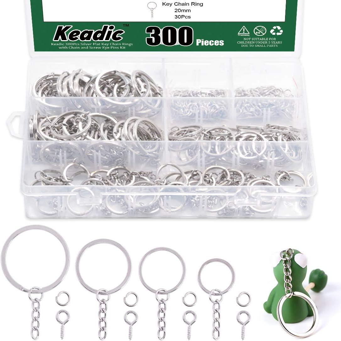 Anillos planos con cadena y pasadores para llaveros pack 300
