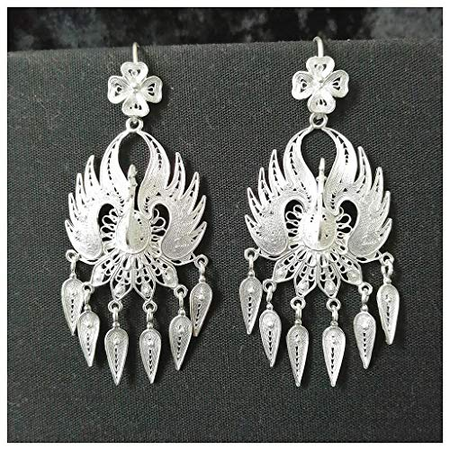 Dawery Peacock Earrings for Women Silver Jewelry Chinese Handmade Ethnic Earrings Vintage Homemade Tassel Dangle Earing Silvery]()