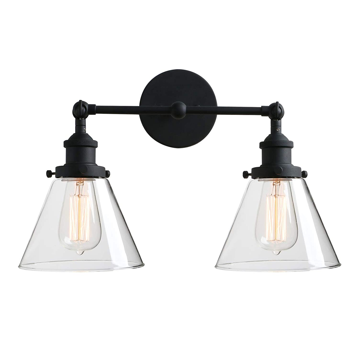 """Phansthy 2-Light Industrial Wall Light Antique Sconce Light Fixture with 7.3"""" Clear Glass Flared Shade (2-Light Clear)"""
