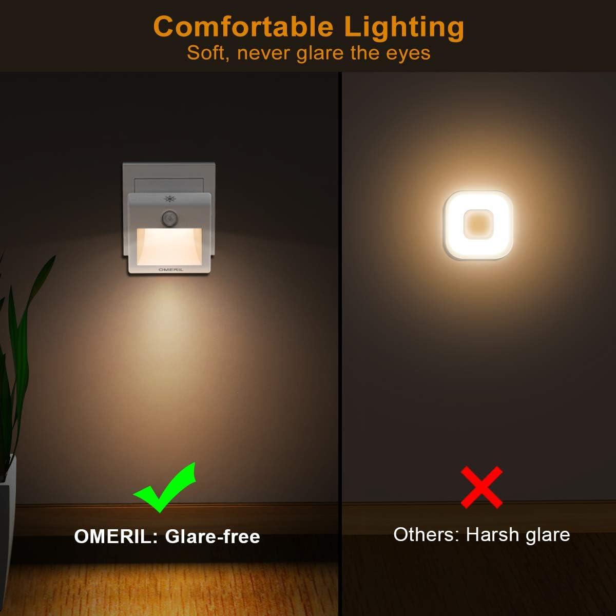OMERIL 2 Stück Steckdosenlicht 3 Modi Nachtlicht Steckdose mit Bewegungsmelder