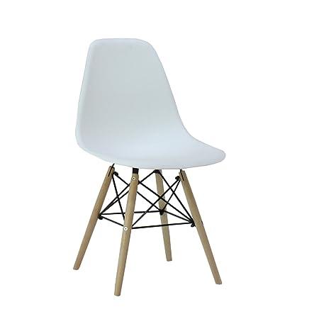 Pu0026N Homewares® Moda Dining Chair Plastic Wood Retro Dining Chairs White Modern  Furniture (1