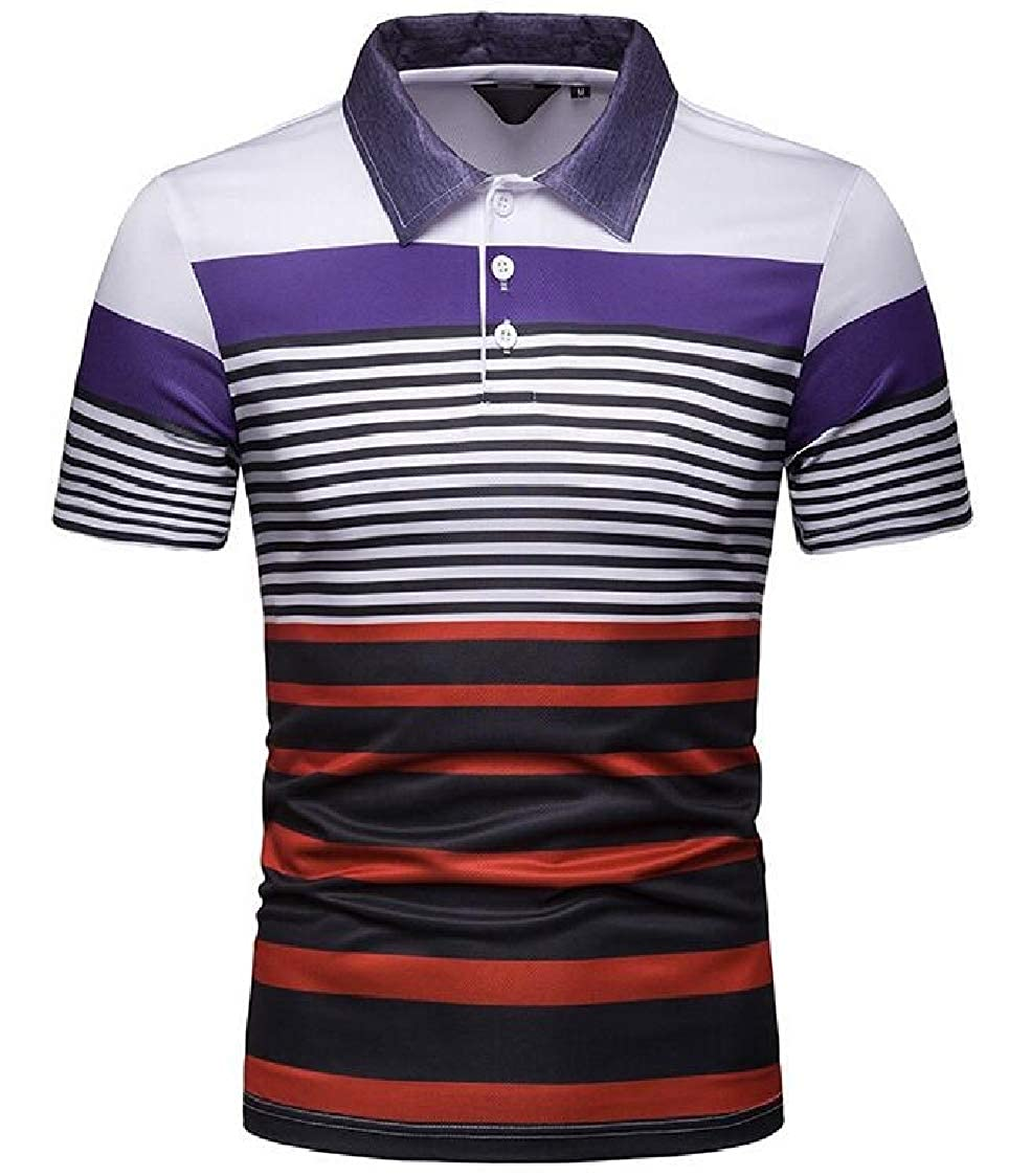 Nanquan Men Short Sleeve Summer Striped Spread Collar Contrast Polo Shirt