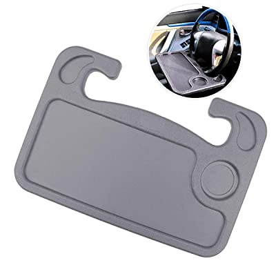 Zone Tech Multi-Functional Portable Car Laptop and Food Steering Wheel Tray – Premium Quality Gray Portable Mount Tray Laptop Notebook Table Eating Desk: Automotive