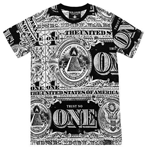 Killstar Okkult Herren T-Shirt - Dollar Banknote All-Over-Print Mens Shirt