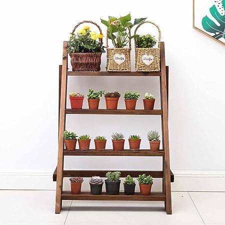 Estante de flores de madera maciza simple de moda de 3 capas Estante de planta suculentas de dormitorio de sala de estar interior y exterior (Dimensiones: ...