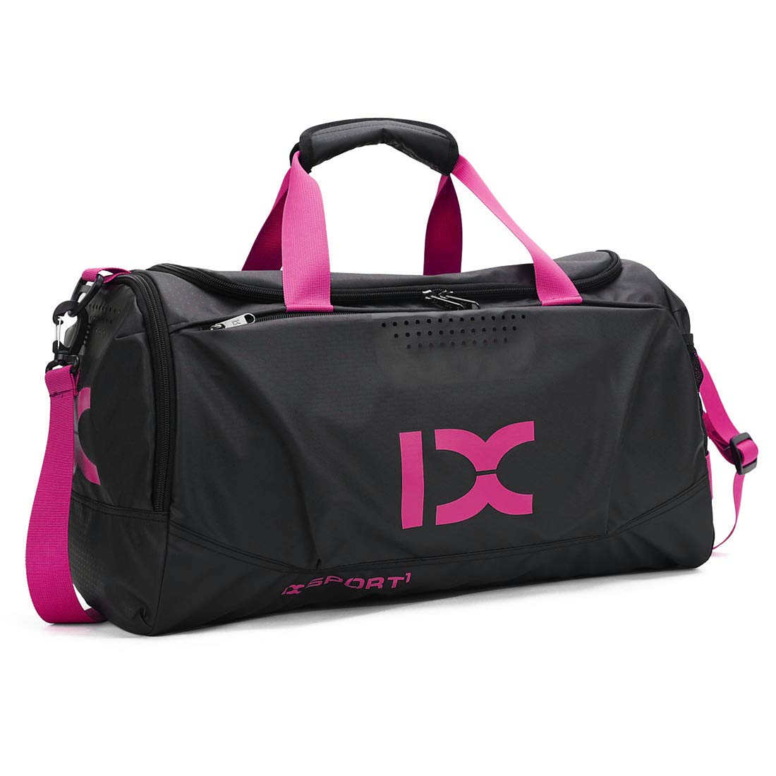 HUANGHENG Sports Gym Bag with Wet Pocket and Shoes Compartment Travel Duffel Bag for Men and Women Pink