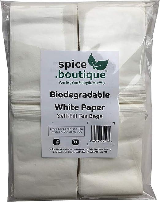 boutique, spice.boutique Bolsas de té rellenables de papel blanco ...
