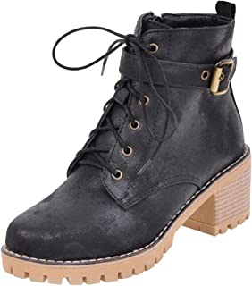 Women's Trendy Mid Wedge Heels Hidden Inside Lace Up Martin Boots Frosted Ankle Booties