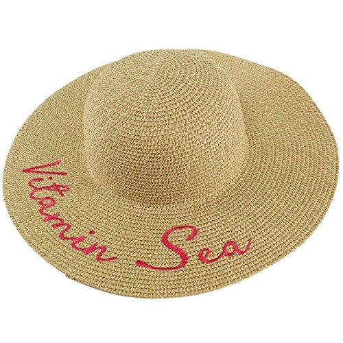 "David & Young Fun Embroidery Wide Brim 4"" Summer Derby Beach Pool Floppy Dress Sun Hat Vitamin Sea"