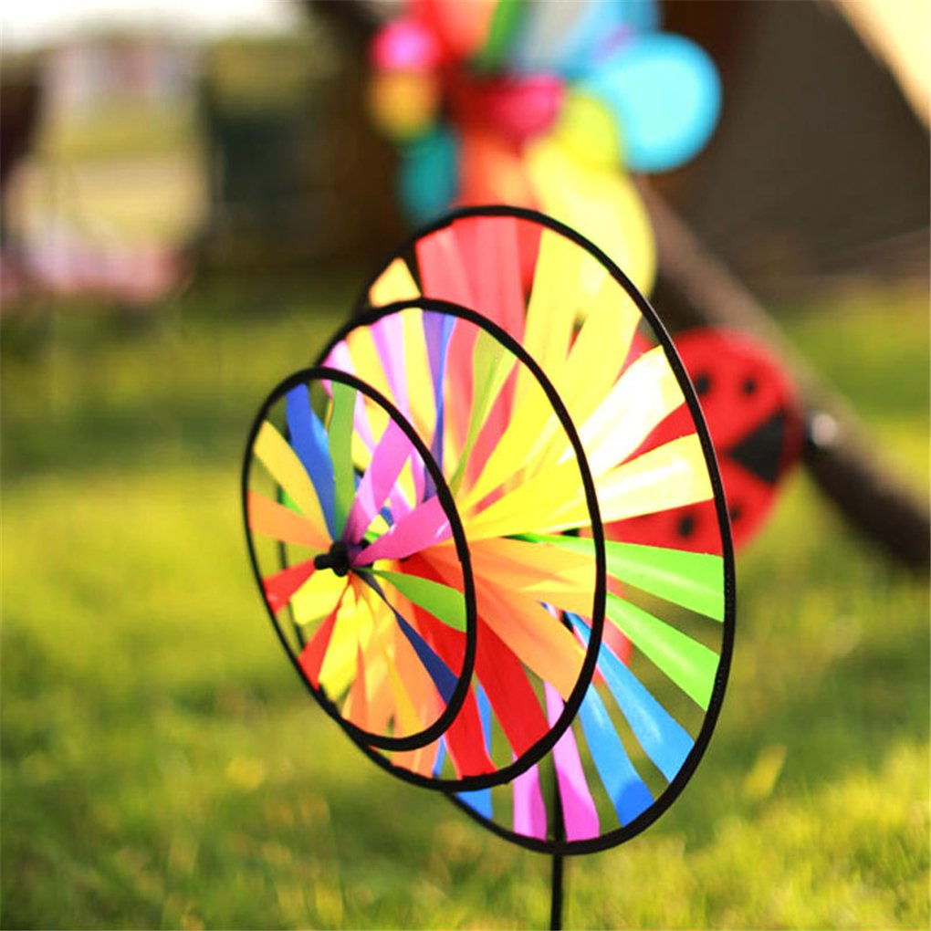 BrilliantDay 3 PCS Large Rainbow Windmill Wind Spinner Colourful Lawn Yard Garden Outdoor Decoration 36CM Diametre
