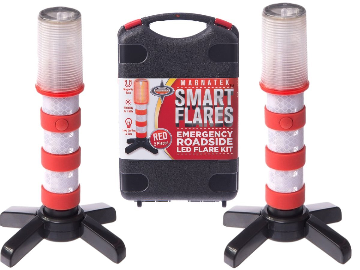 Red LED Emergency Roadside Flares - Magnetic Base and Upright Stand - These Magnatek Red LED Beacons May Save Your Life - Our Road Flares Come with Batteries and Solid Storage case. Magnatek Smart Accessories MSFR-911