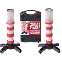 Red LED Emergency Roadside Flares - Magnetic Base and Upright Stand - these Magnatek Red LED Beacons May Save Your Life - Our Road Flares come with Batteries and Solid Storage case.