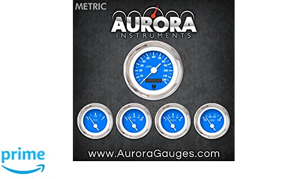Aurora Instruments 4870 Marker Blue Metric 5-Gauge Set White Vintage Needles, Chrome Trim Rings, Style Kit Installed