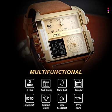 SKMEI Men s Digital Sports Watch, LED Square Large Face Analog Quartz Wrist Watch with Multi-Time Zone Waterproof Stopwatch