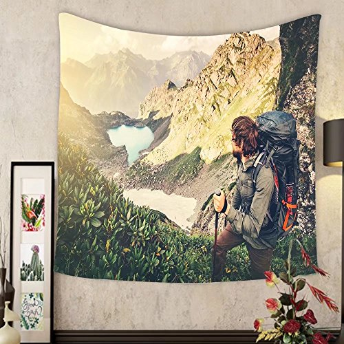 Evelyn C. Connor Custom?tapestry man traveler with backpack mountaineering travel lifestyle concept lake and mountains landscape on by Evelyn C. Connor (Image #5)