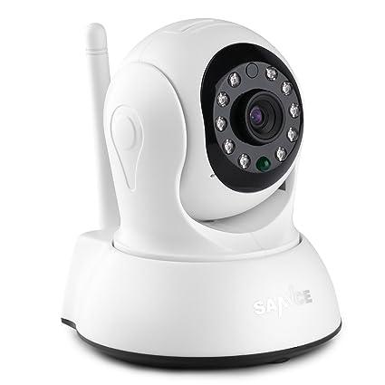 SANNCE IP WiFi Cámara Video Vigilancia IR Vision nocturna HD 720P con Micrófono y altavoz,