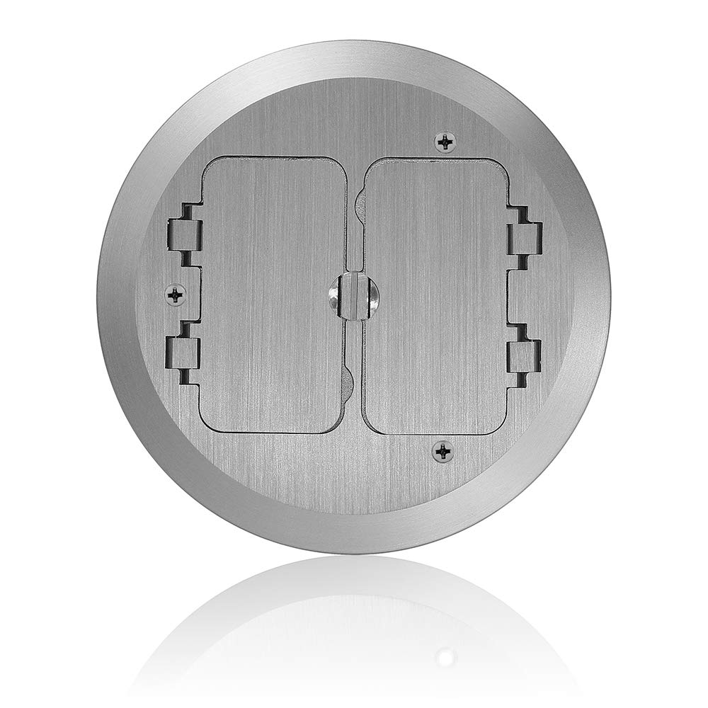 Leviton FBC2F-N Concrete Floor Box Nickel Plated Cover Plate, 2 Decora Flip Lids