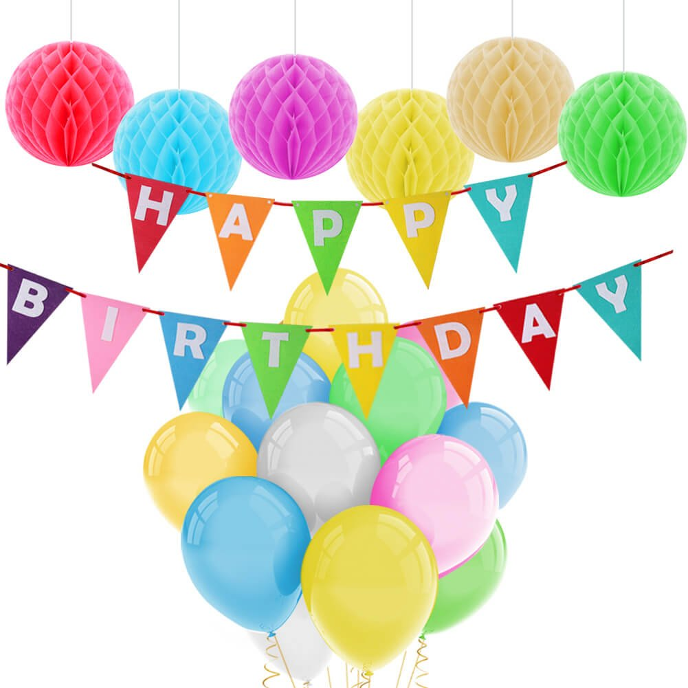 Paxcoo Happy Birthday Decorations Banner with Colorful Balloons and Paper Pom Poms