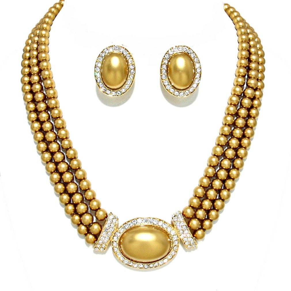 Christina Collection Elegant Multi Layered Strands Golden Brown Pearl Crystal Necklace Clip on Earrings Set Gift Bijoux PN13736