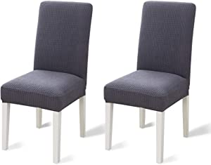 TOPUONE 2Pack Dining Chair Covers, Stretch Parsons Chair Slipcover Chair Furniture Protector Covers Removable Washable Chair Cover for Dining Room, Hotel, Ceremony (Gray)