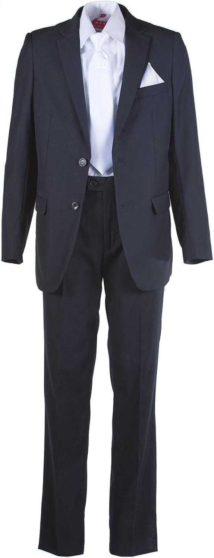 Amazon.com: Boys Slim Fit Azul Marino Suit, Blanco Comunión ...