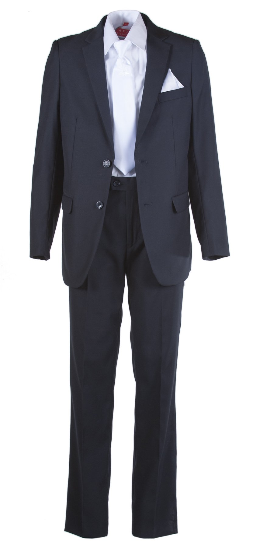 Boys Slim Fit Navy Suit, White Communion Cross Tie, Suspenders & Handkerchief (10 Boys)