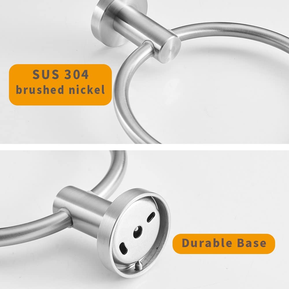 BESy SUS304 Stainless Steel Bathroom Hand Towel Ring Towel Holder, Drill Free with Glue or Wall Mounted with Screws, Heavy Duty Round Pedestal, Brushed Nickel Finish: Home & Kitchen