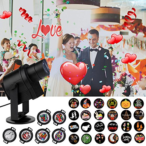 ACTOPP DIY LED Projector Light 30pcs Gobos LED lights Indoor Outdoor Holiday Lights with 360° Rotating Unti-fading Films IP65 Waterproof for Family Photo Show New Year Birthday Party Wedding Decor