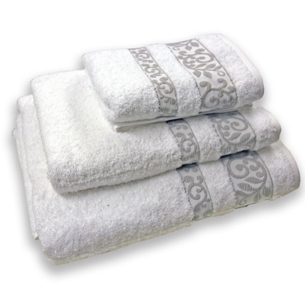 Homescapes Turkish 100% Cotton Bath Sheet White 'Scroll' Very Soft and Absorbent, for Everyday Luxury by Homescapes