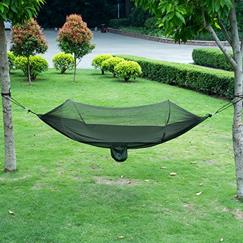 isYoung Hammock with Mosquito Net Parachute Fabric Hammock Net, Durable and Portable , Suit for 2 Persons, Tree Tent, Outdoors (Army Green)
