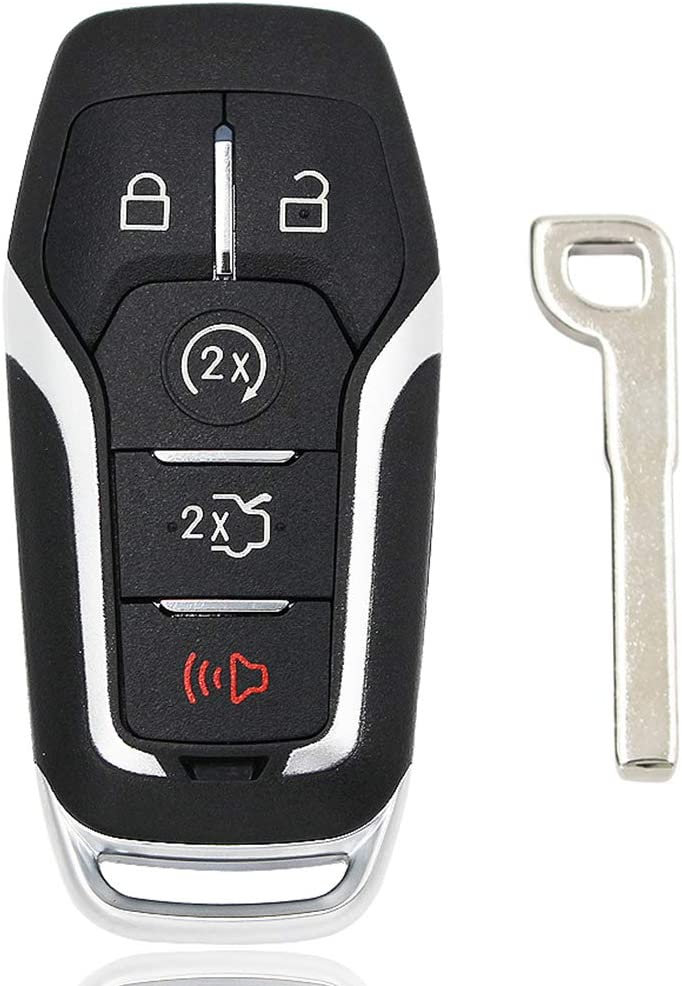 5 Buttons Smart Key Fob Case HelloAuto Replacement Keyless Entry Remote Smart Key Fob Shell Compatible with Ford Fusion Edge Explorer Mustang Lincoln MKZ MKC