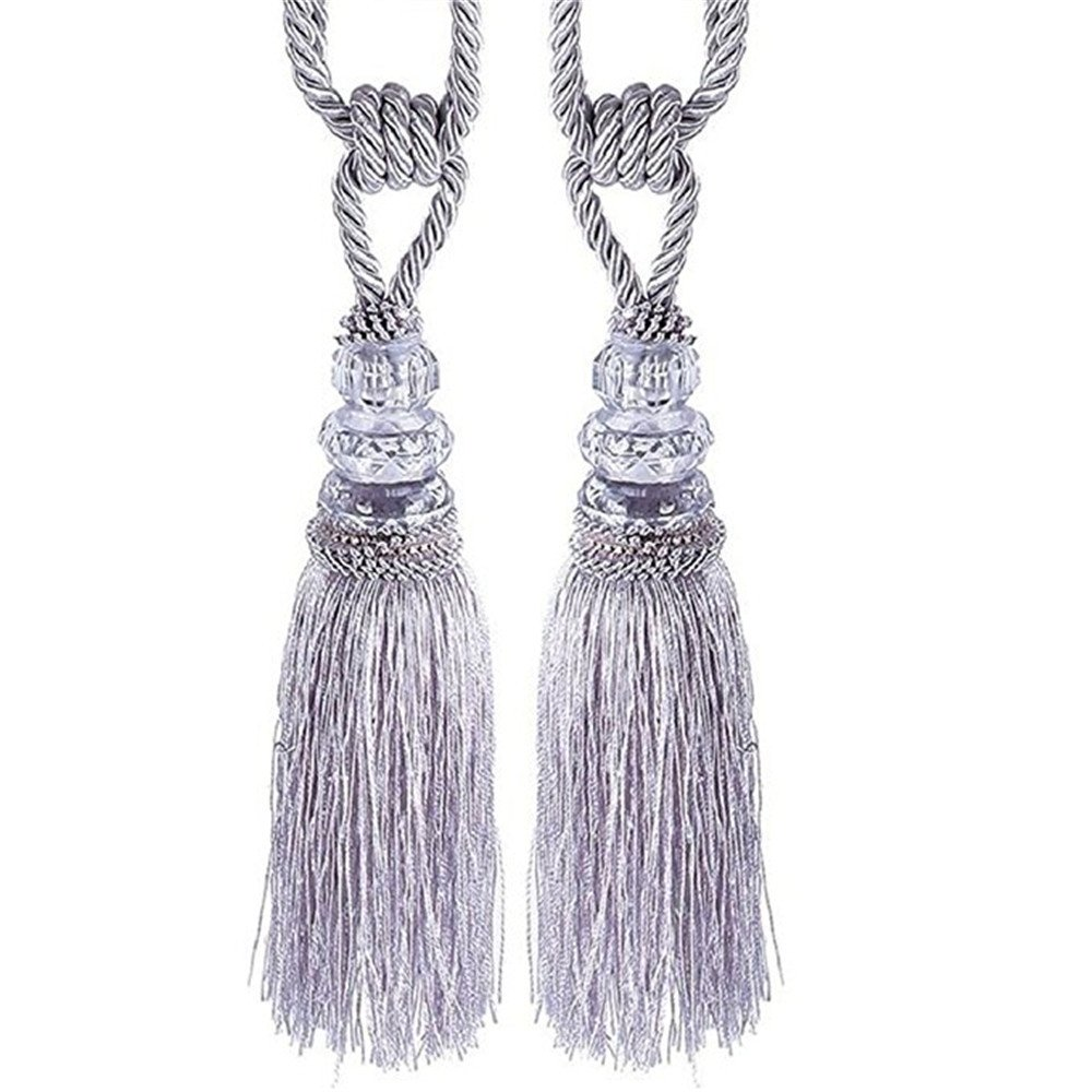 ♚Rendodon♚ Curtain Hanging Ear Small Crystal Tassel Hanging Ball, Creative Decor Home Decal, Crystal Beaded Tassels Tieback Curtain Cord Home Textiles Window Treatments (Sliver)